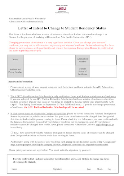 Letter of Intent to Change to Student Residency Status (English)